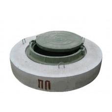 Крышка бетонная Ø116 + пластиковый люк