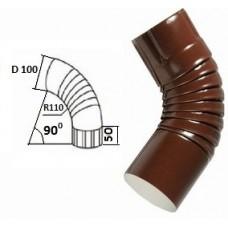 Колено гофрированное d=100, коричневое