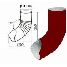 Колено гофрированное  нижнее d=100, вишня