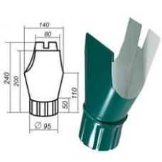 Воронка желоба d=125/100, темно-зеленая