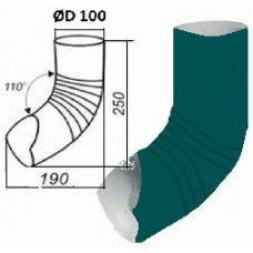 Колено гофрированное нижнее d=100,  темно-зеленое
