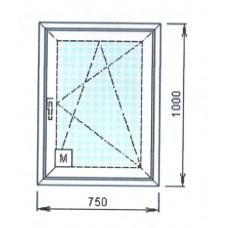 Окно ПВХ, стеклопакет 750*1000мм