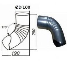 Колено гофрированное нижнее d=100, оцинкованное